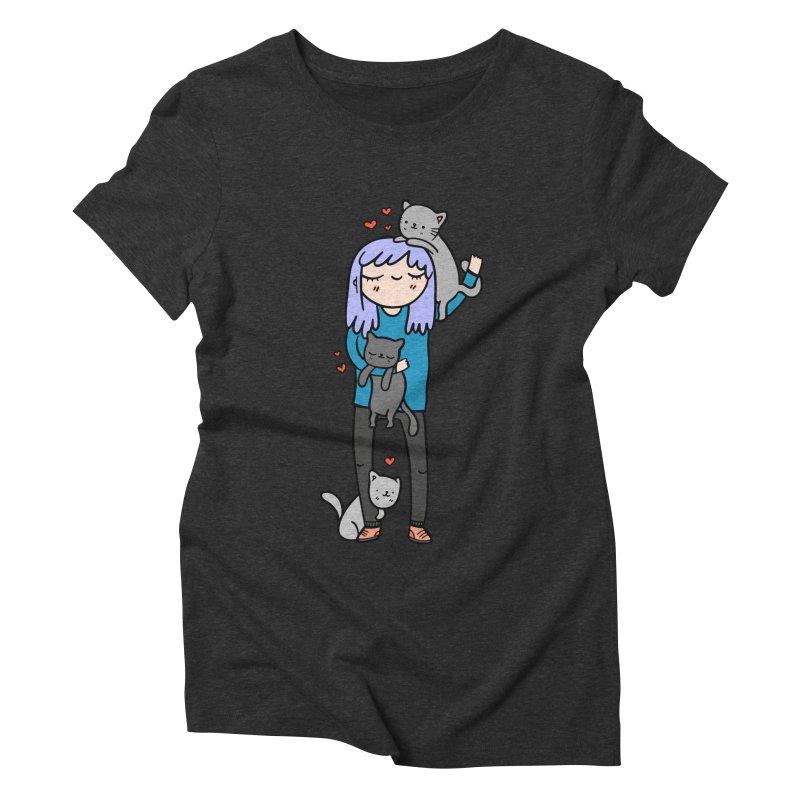 Catlady Women's Triblend T-shirt by Piratart Illustration