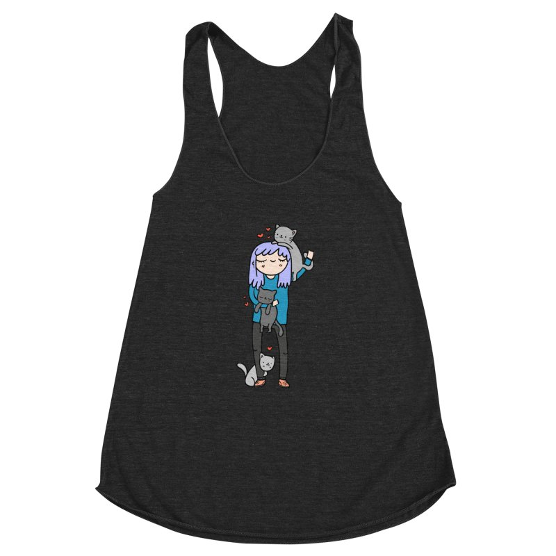 Catlady Women's Racerback Triblend Tank by Piratart Illustration