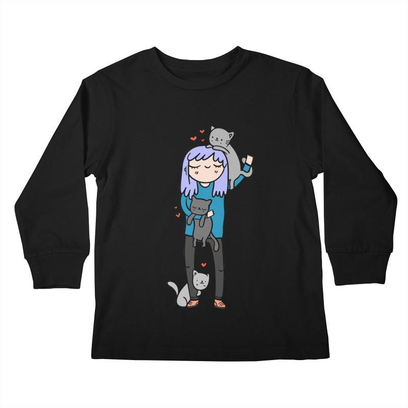 Catlady Kids Longsleeve T-Shirt by Piratart Illustration