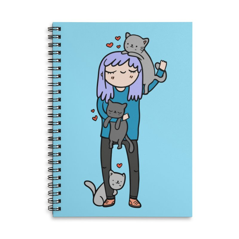 Catlady Accessories Notebook by Piratart Illustration