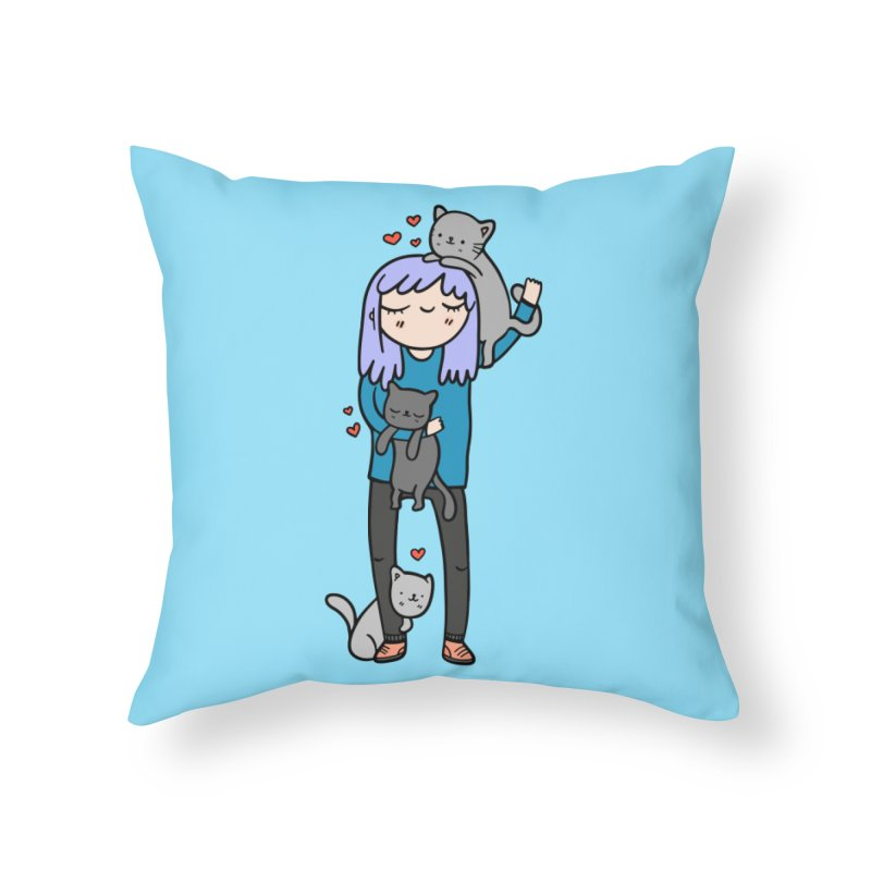Catlady Home Throw Pillow by Piratart Illustration