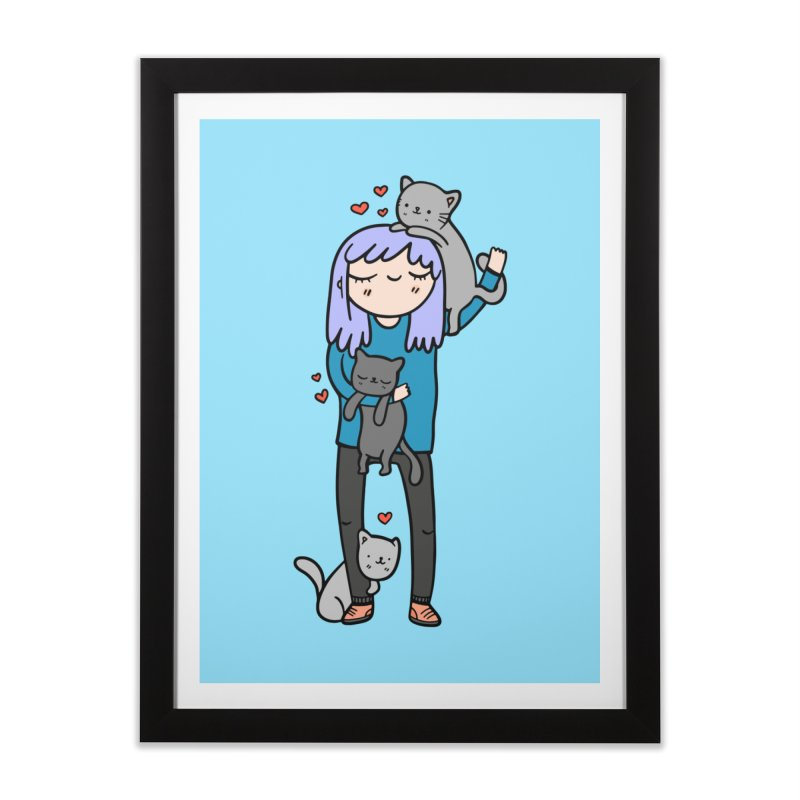 Catlady Home Framed Fine Art Print by Piratart Illustration