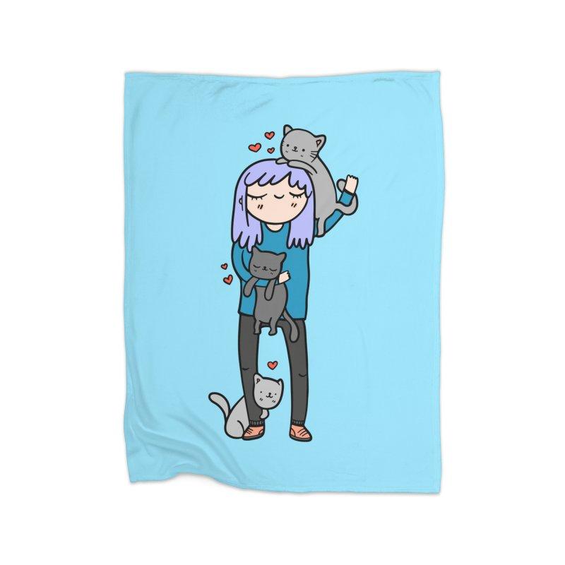 Catlady Home Blanket by Piratart Illustration