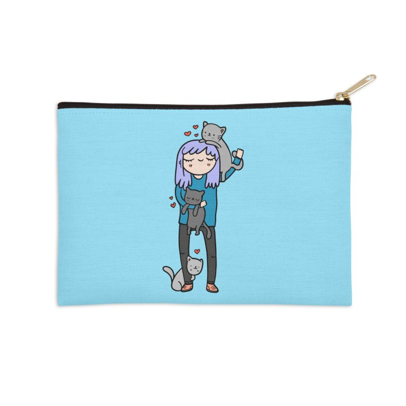 Catlady Accessories Zip Pouch by Piratart Illustration