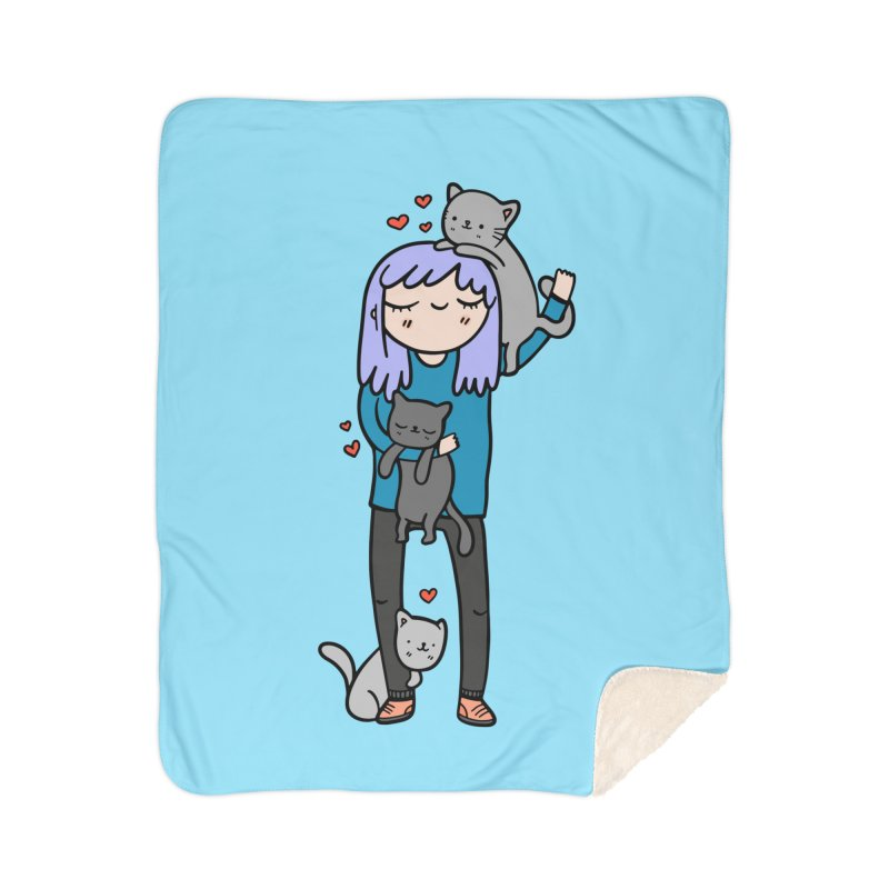 Catlady Home Sherpa Blanket Blanket by Piratart Illustration