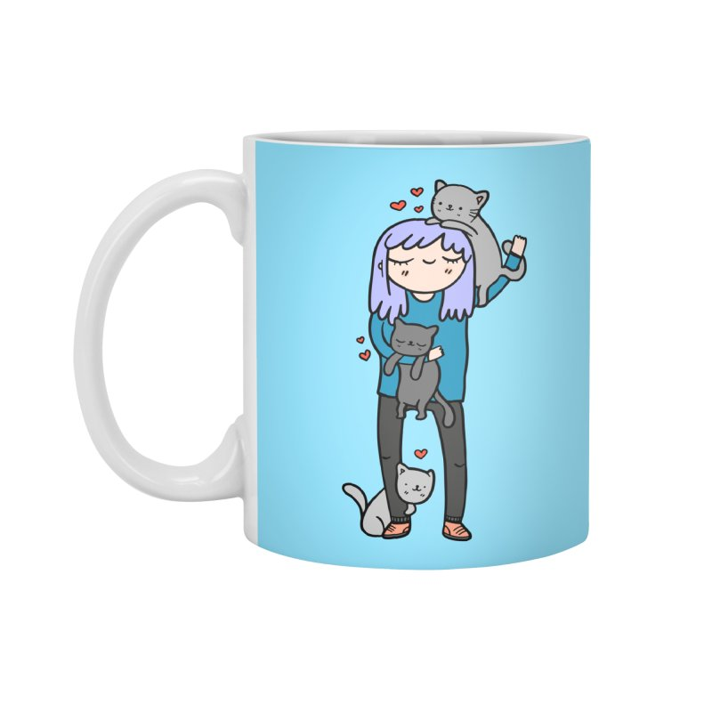 Catlady Accessories Mug by Piratart Illustration