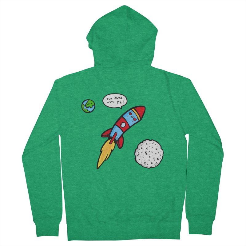Fly Away Men's French Terry Zip-Up Hoody by Piratart Illustration