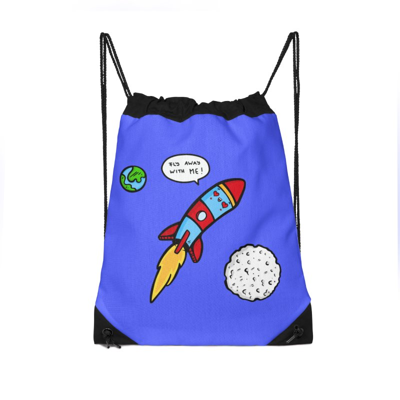 Fly Away Accessories Drawstring Bag Bag by Piratart Illustration