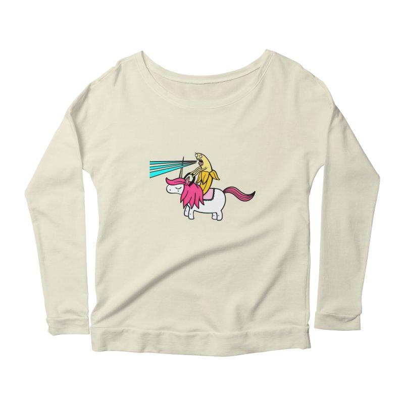 Banana rules the world Women's Scoop Neck Longsleeve T-Shirt by Piratart Illustration