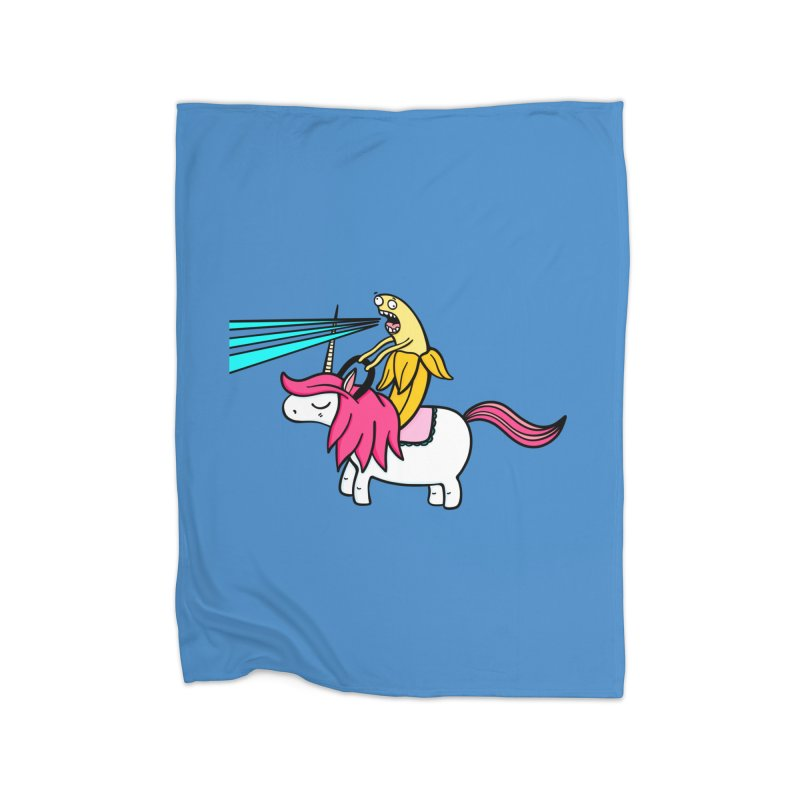 Banana rules the world Home Fleece Blanket Blanket by Piratart Illustration