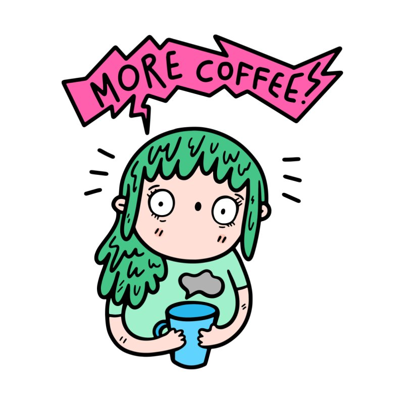 More Coffee! Kids T-Shirt by Piratart Illustration