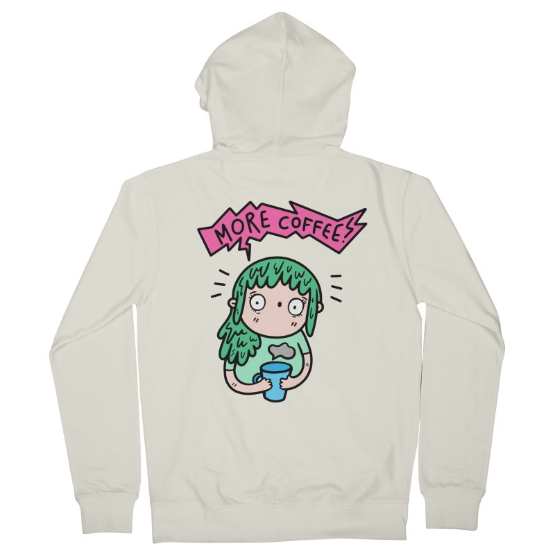 More Coffee! Men's French Terry Zip-Up Hoody by Piratart Illustration