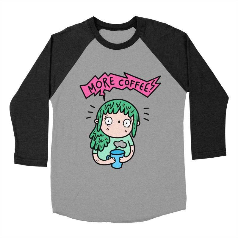 More Coffee! Women's Baseball Triblend T-Shirt by Piratart Illustration