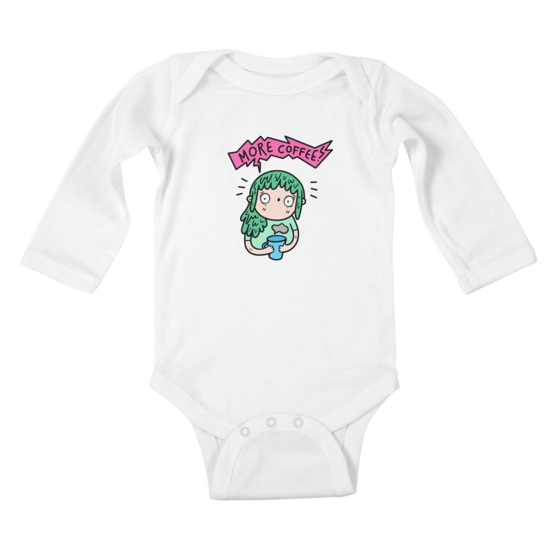 More Coffee! Kids Baby Longsleeve Bodysuit by Piratart Illustration