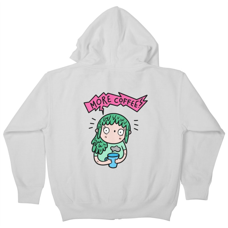 More Coffee! Kids Zip-Up Hoody by Piratart Illustration