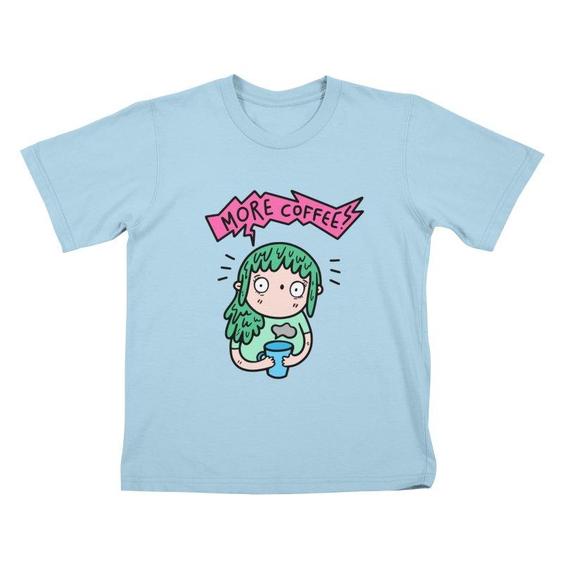 More Coffee! Kids T-Shirt by Piratart Illustration