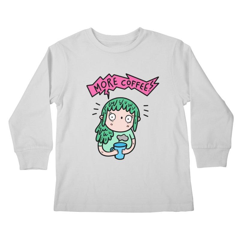 More Coffee! Kids Longsleeve T-Shirt by Piratart Illustration