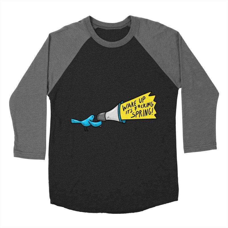 Birdy Spring Men's Baseball Triblend Longsleeve T-Shirt by Piratart Illustration