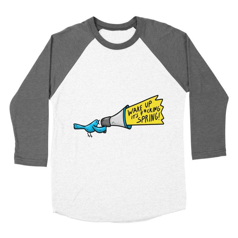 Birdy Spring Men's Baseball Triblend T-Shirt by Piratart Illustration