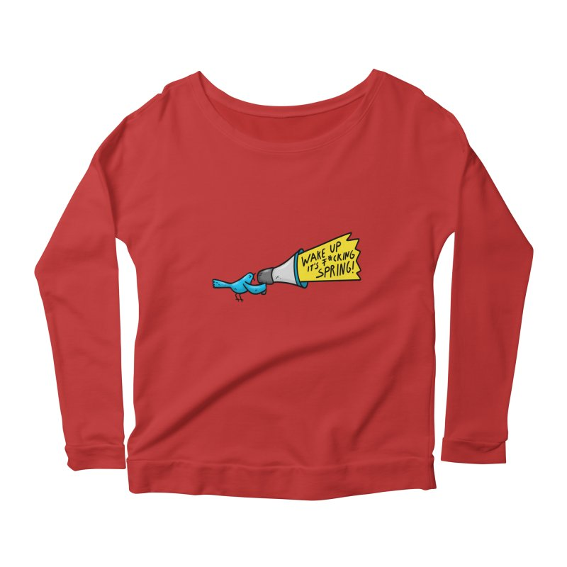 Birdy Spring Women's Scoop Neck Longsleeve T-Shirt by Piratart Illustration