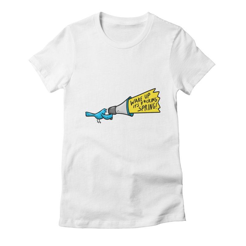 Birdy Spring Women's Fitted T-Shirt by Piratart Illustration