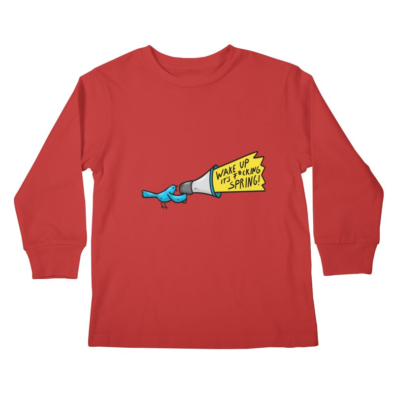 Birdy Spring Kids Longsleeve T-Shirt by Piratart Illustration