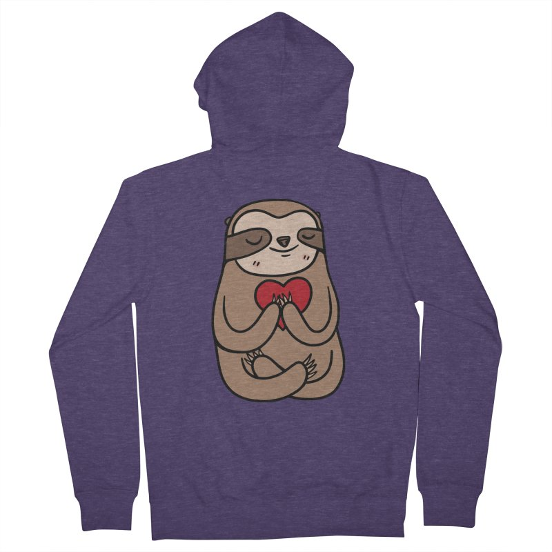 Sloth Love Men's French Terry Zip-Up Hoody by Piratart Illustration