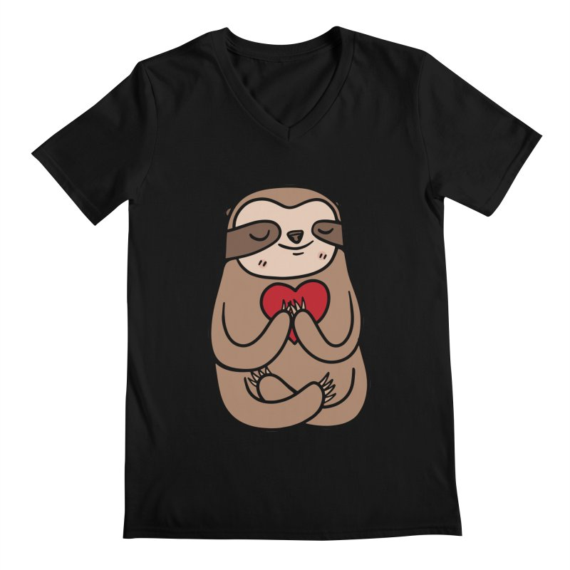 Sloth Love Men's V-Neck by Piratart Illustration