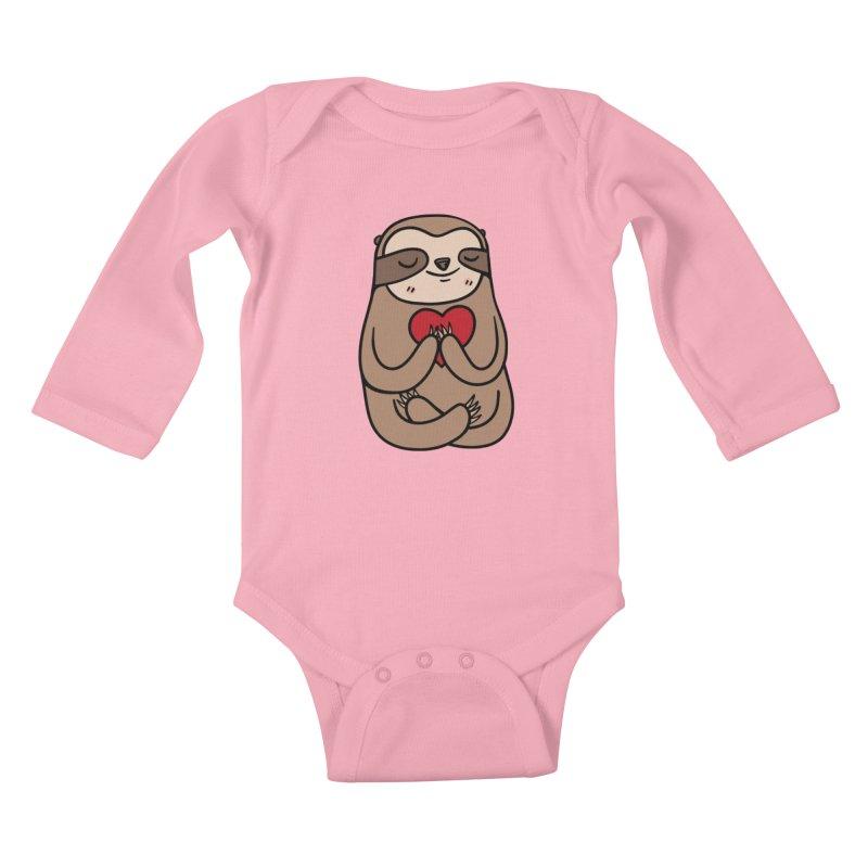 Sloth Love Kids Baby Longsleeve Bodysuit by Piratart Illustration