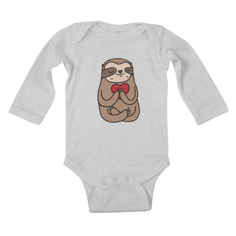 Sloth Love Kids Baby Longsleeve Bodysuit by Piratart Illustration