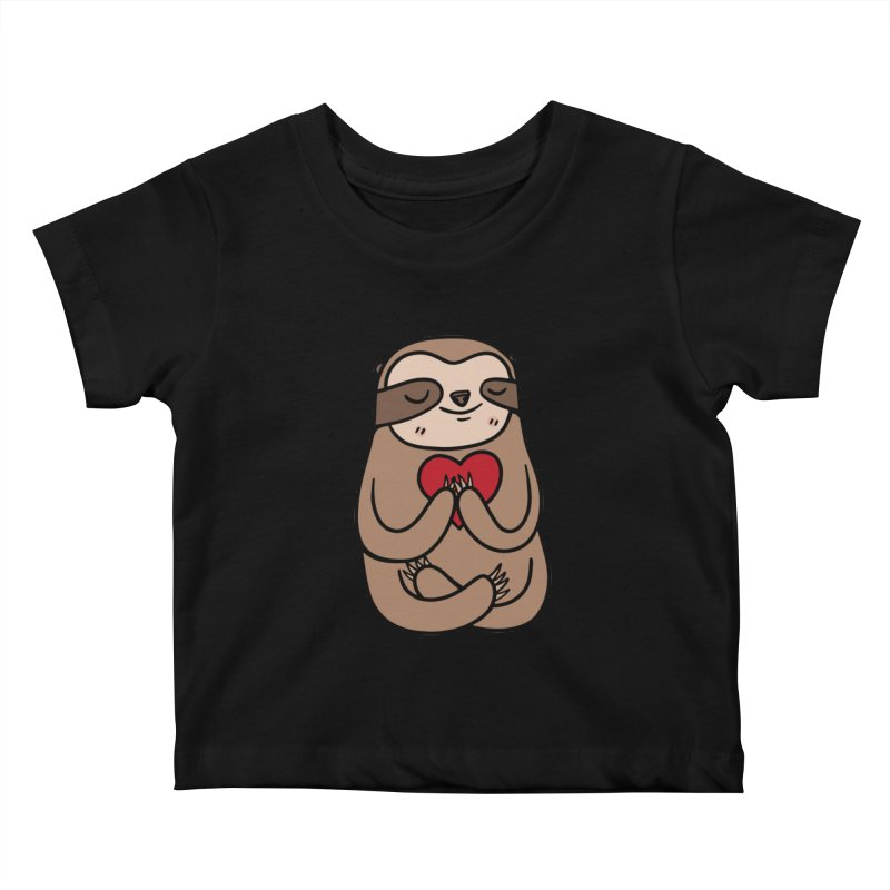 Sloth Love Kids Baby T-Shirt by Piratart Illustration