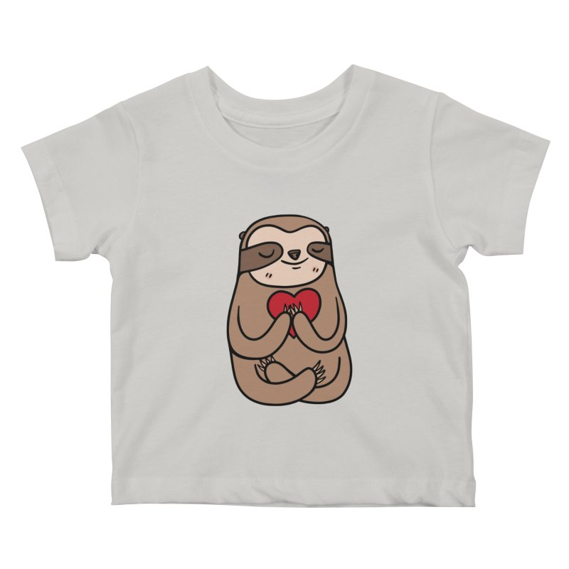 Sloth Love Kids Baby T-Shirt by Piratart Illustration