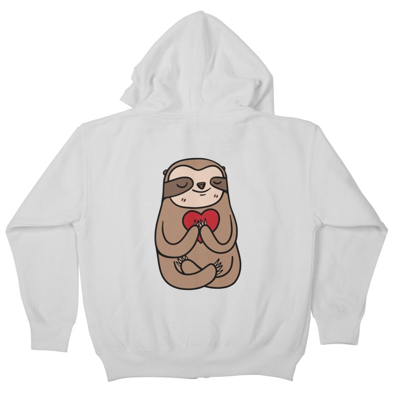 Sloth Love Kids Zip-Up Hoody by Piratart Illustration