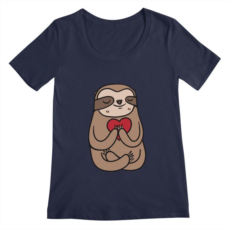 Sloth Love Women's Regular Scoop Neck by Piratart Illustration