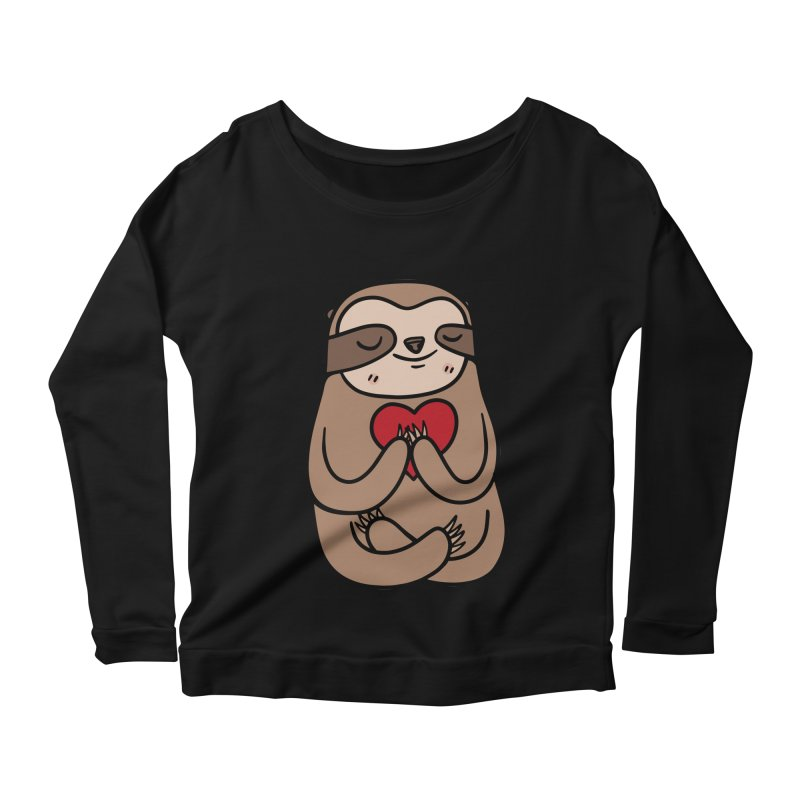 Sloth Love Women's Scoop Neck Longsleeve T-Shirt by Piratart Illustration
