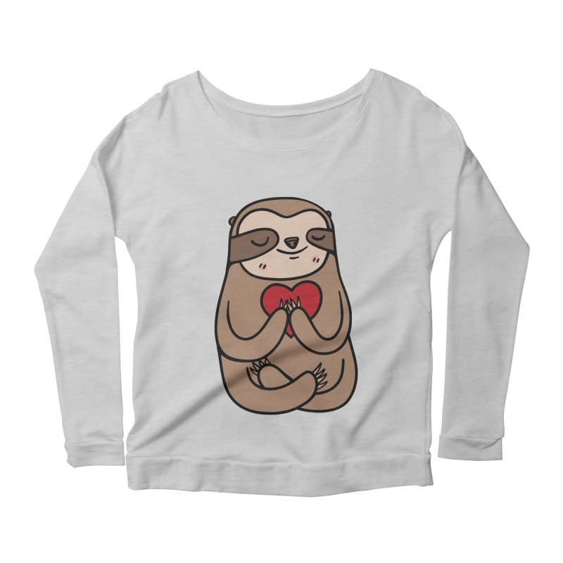 Sloth Love Women's Scoop Neck Longsleeve T-Shirt by Piratart Illustration