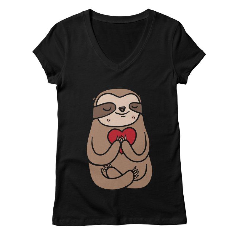 Sloth Love Women's V-Neck by Piratart Illustration