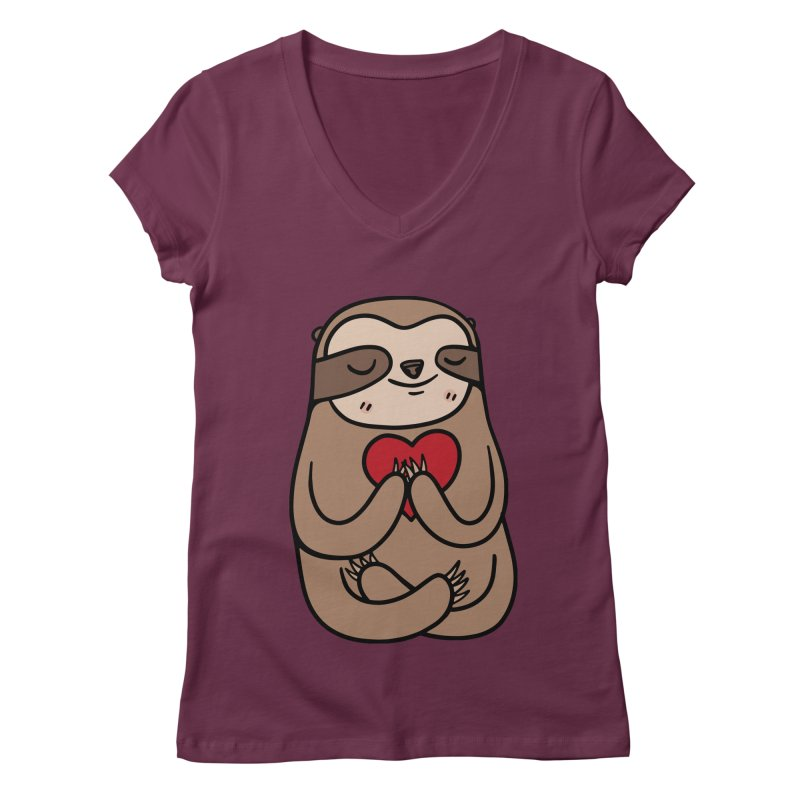 Sloth Love Women's V-Neck by Piratart Illustration