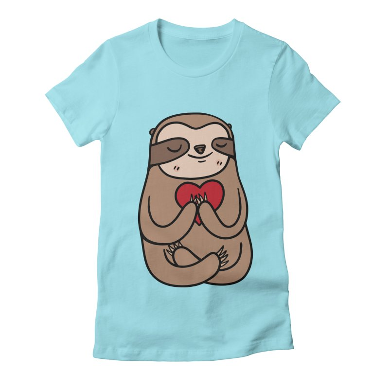 Sloth Love Women's Fitted T-Shirt by Piratart Illustration