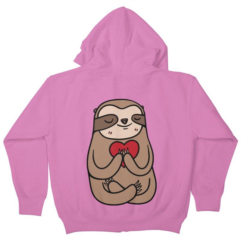 Sloth Love Kids Zip-Up Hoody by Piratart Illustration
