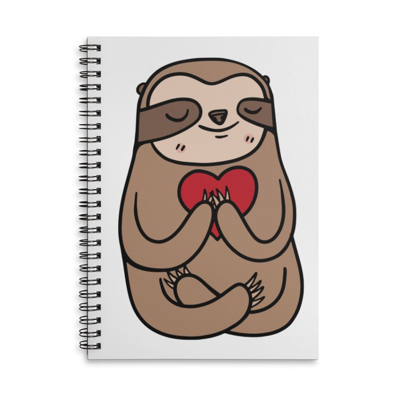 Sloth Love Accessories Lined Spiral Notebook by Piratart Illustration