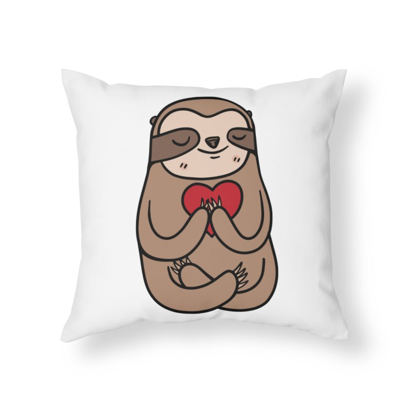 Sloth Love Home Throw Pillow by Piratart Illustration