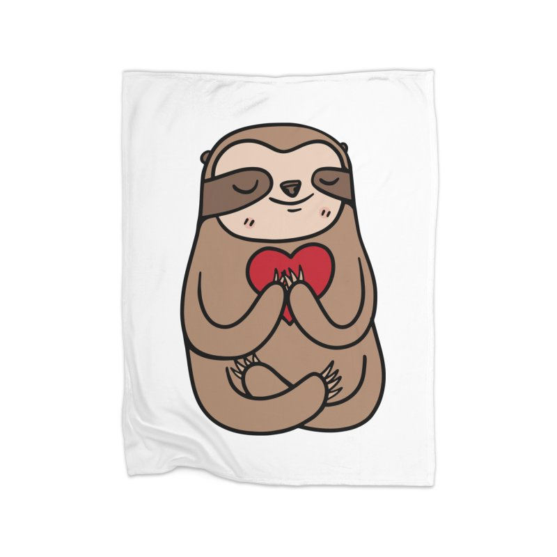 Sloth Love Home Fleece Blanket Blanket by Piratart Illustration