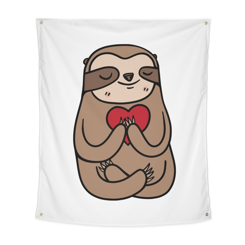 Sloth Love Home Tapestry by Piratart Illustration