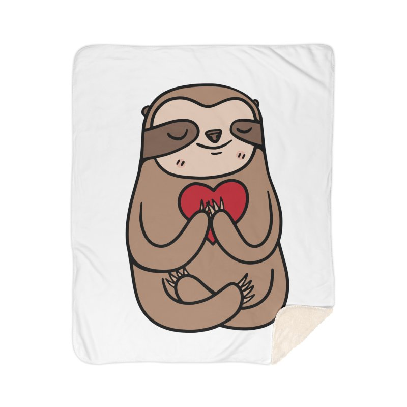 Sloth Love Home Sherpa Blanket Blanket by Piratart Illustration