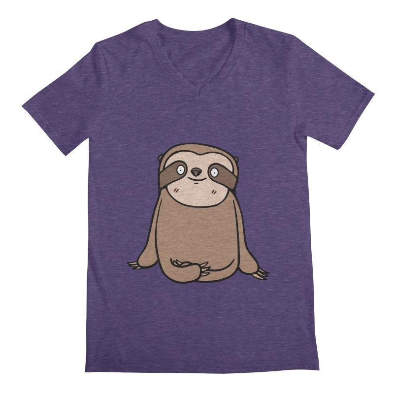 Chubby Sloth Men's Regular V-Neck by Piratart Illustration