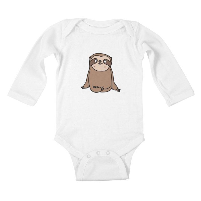 Chubby Sloth Kids Baby Longsleeve Bodysuit by Piratart Illustration