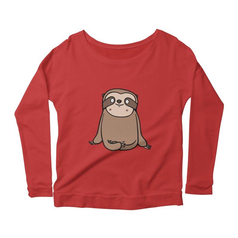 Chubby Sloth Women's Longsleeve Scoopneck  by Piratart Illustration