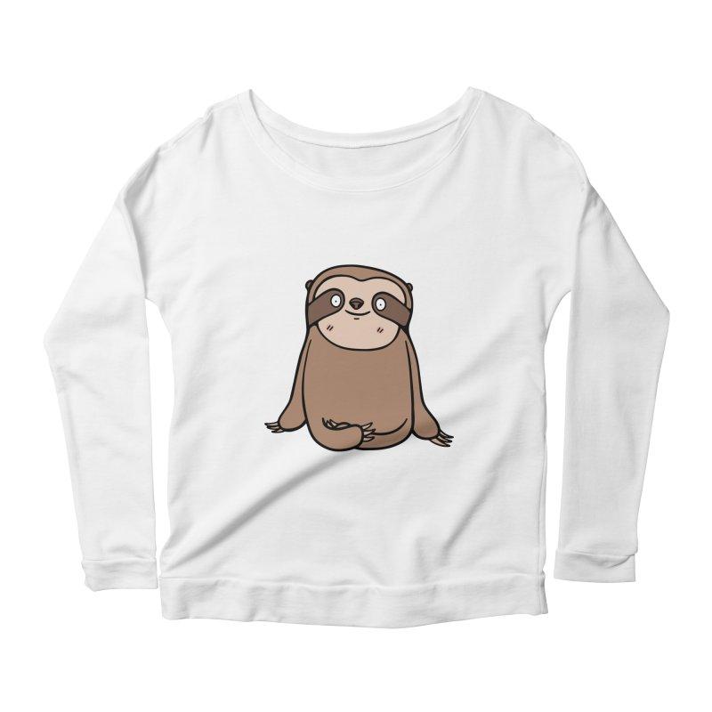 Chubby Sloth Women's Scoop Neck Longsleeve T-Shirt by Piratart Illustration