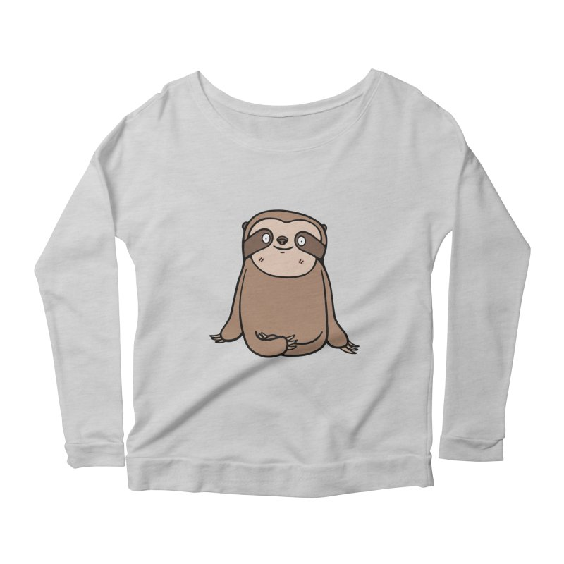 Chubby Sloth Women's Scoop Neck Longsleeve T-Shirt by Piratart Illustration